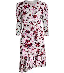 lila floral asymmetric flounce dress