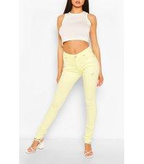 high waist stretch pastel skinny jeans, lemon