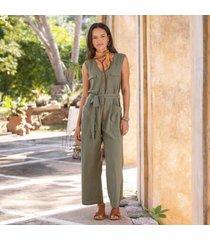 sundance catalog women's riviera jumpsuit in fern green xs