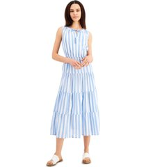 style & co petite cotton striped tiered maxi dress, created for macy's