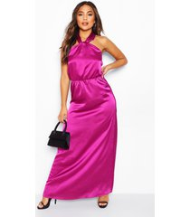 petite satin halterneck maxi dress, purple