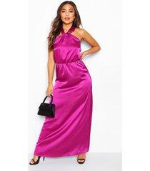 petite satijnen maxi-jurk met halternek, paars