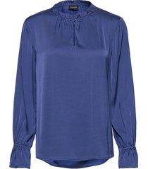satin stretch - raya f sleeve blouse lange mouwen blauw sand