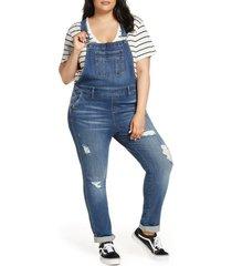 plus size women's slink jeans distessed denim overalls, size 22w - blue