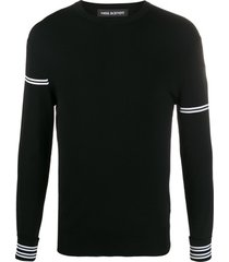 neil barrett irregular stripe techno knit sweater - preto