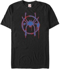 marvel men's spider-man into the spiderverse red and blue paint logo short sleeve t-shirt