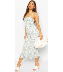 floral print cowl neck dress with fishtail hem, blue