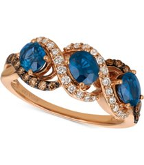le vian chocolatier blueberry sapphire (1-1/5 ct. t.w.) & diamond (3/8 ct. t.w.) ring in 14k rose gold