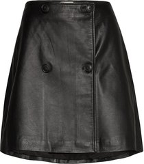 slfalberte mw leather skirt w kort kjol svart selected femme