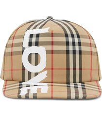 burberry love print vintage check cap - neutrals