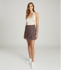 reiss alani - geo printed mini skirt in black, womens, size 14