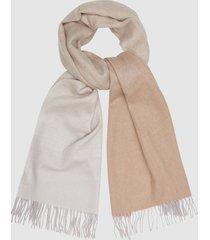 reiss annie scarf - wool cashmere blend scarf in cream/brown, womens