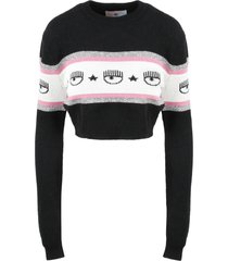 chiara ferragni maxilogo mania crop sweater
