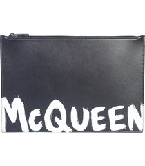 alexander mcqueen designer men's bags, leather pouch with logo