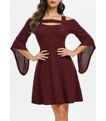 a line cold shoulder cut out solid dress