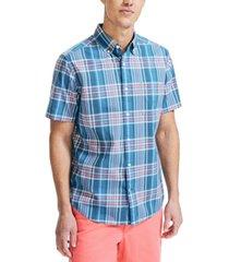 nautica men's classic-fit plaid poplin shirt