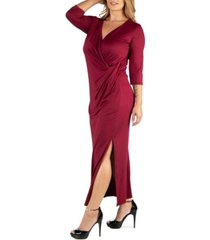 24seven comfort apparel ankle length side slit formal plus size maxi dress