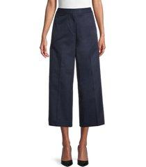 lacoste women's cropped wide-leg pants - marine - size 32 (xs)