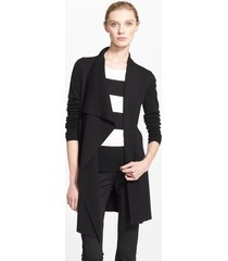 women's akris draped wool cardigan, size 16 - black