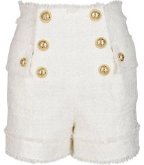 balmain white viscose-wool bend shorts
