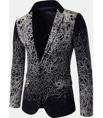 tasche monopetto con stampa manica lunga casual da uomo, design a manica lunga sottile blazer