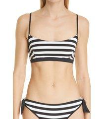 women's max mara stripe swim top, size 4 - black