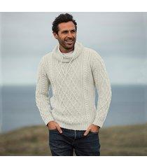 mens atlantic cream aran sweater small