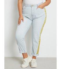 bolsillo de patchwork de talla grande diseño cremallera diseño jeans