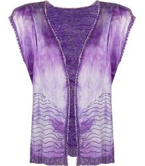 a.n.g.e.l.o. vintage cult 1970s embroidered open vest - purple