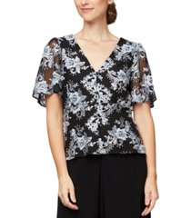 alex evenings embroidered flutter-sleeve top