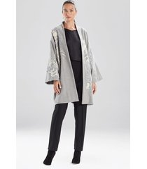 felted wool embroidered dragon caban jacket, women's, grey, size l, josie natori