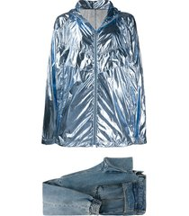 juun.j metallic lightweight jacket and tapered jeans set - blue