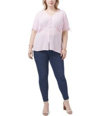 plus size short sleeve button front v-neck blouse