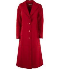 red valentino ruffle detail wool cashmere coat