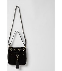 river island womens black leather tassel mini duffle bag