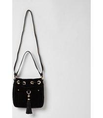 river island womens black leather tassel mini duffle bag
