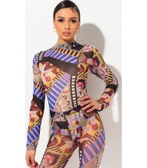 akira all over geometric print long sleeve mesh bodysuit