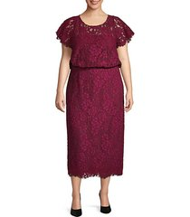 plus embroidered cotton blend blouson dress