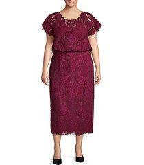 plus embroidered cotton blend blouson dress