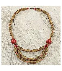 wood and recycled plastic beaded necklace, 'prosperous love in red' (ghana)