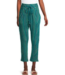 free people women's roll with it striped cropped harem pants - blue green - size s