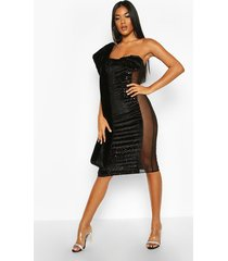 bandeau cupped mesh panel velvet midi dress, black