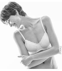 hanro dames lingerie cotton lace space bh zonder beugel roze 072432