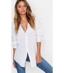 oversized split side stripe shirt, beige
