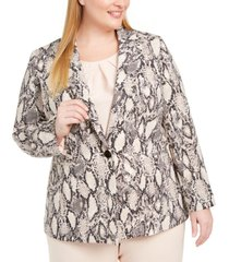 nine west plus size printed one-button blazer