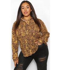 plus oversized dierenprint blouse, mosterd