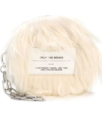 diesel fringe clutch bag - white