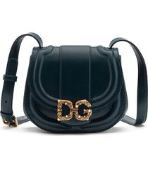 dolce & gabbana small dg amore crossbody bag - blue
