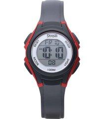 orologio multifunzione con cinturino in silicone nero dettagli rossi cassa in acciaio per uomo