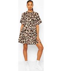 leopard print smock dress, tan